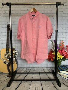 Ralph Lauren Linen Salmon Short Sleeve Button Down Shirt Size XL