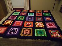 "HANDMADE VINTAGE AFGHAN THROW - APPROX. 56 1/2"" X 52"""