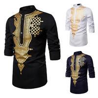 Men's African Tribal Dashiki Metallic Printed Mandarin Collar Casual Shirt Tops