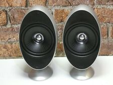 Pair Of KEF HTS KHT 3001 Gloss Silver Finish Surround Sound Loud Speakers