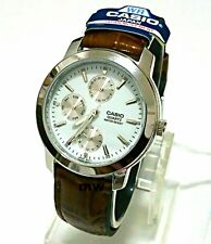 Casio Men's Analog Quartz Brown Leather Day Date MTP1192E-7A NEW Water Resistant