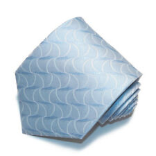 Men's light blue and off white swirl designed  woven tie