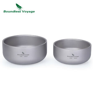 Titanium Double-Wall Bowl for Adult Children Outdoor Camping Tableware