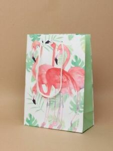 12 pack New GLOSSY Gift Bags, : 20x14x7cm Pink Flamingo print gift bag UK SELLER