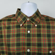 Orvis Mens Green Brown Red Check Plaid Dress Button Shirt Size Medium M