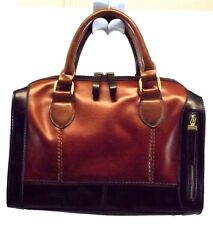Fiorelli Women's Satchel Doctor Handbag Purse Bag Brown Leather Made in Italy