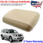 Fit 2005-2012 Nissan Pathfinder Leather Console Lid Armrest Cover Trim Beige Tan