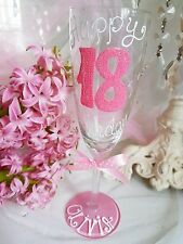 Personalised Hand Painted birthday 16th 21st 18th 30th 40 50 wine glass gift dad