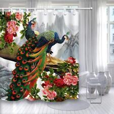 Peacock Birds On Tree Branch Waterproof Bathroom Fabric Shower Curtain &12 Hooks