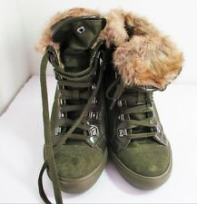 Aldo Copersito Baggy with Fur Wedge Sneakers Army Green size 6