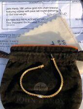 JOHN HARDY .15K round PAVE DIAMONDS Bracelet on 18K gold chain. Petite.