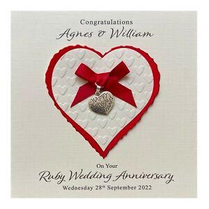 Handmade PERSONALISED Ruby 40th Wedding Anniversary Card - Heart Charm