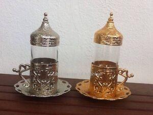 Turkish Water Drink Cup Saucer Lid Copper Glass Arabic TULIP MOTIF Coffee Tea