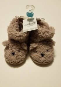 NEW Carters Fuzzy Light Brown Bear Slippers Shoes Booties Size 0-6 Month