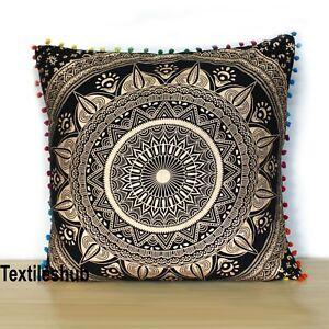 "Indian Black & Gold 24X24"" Ombre Mandala Square Room Decor Pillow Cushion Covers"