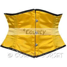 Shaper Cincher MINI Vestaglia Stecche Acciaio waistbust giallo sexy corsetto in Satin