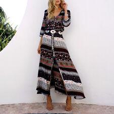 2018 Women Boho Gypsy Summer Long Maxi V-neck Dress Evening Party Beach Sundress