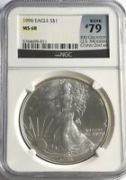 1996 NGC MS68 SILVER EAGLE MINT STATE 1 OZ .999 FINE BULLION 100 GREATEST LABEL