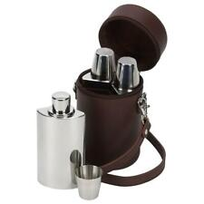 More details for david nickerson brown leather travel bar whisky set