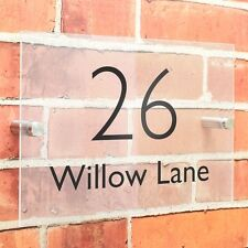 Modern House Sign Number Door Address Plaque Acrylic Glass Effect Personalised