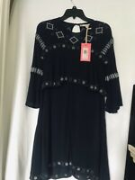 New Chelsea & Violet Women's Aztec Embroidered Dress Dark Blue Size: XS