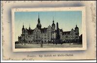 Dresden  Postkarte 1912 gelaufen Blick auf das königliche Schloß Wettin Obelisk