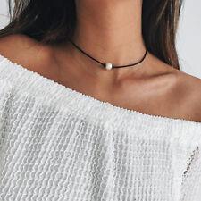 Vintage Fake Pearl Choker Necklace Black Rope Velvet Collar Leather Femm Chocker