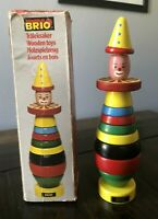 Vintage Brio Colorful Toy Stacking Clown 12 Pieces Wooden Made In Sweden