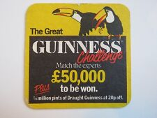 Beer Coaster: Guinness Brewing Co Stout ~ Challenge for Money ~ IRELAND ~ Toucan