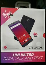 """New Virgin Mobile ZTE Max XL 4G LTE with 16GB Memory  6"""" Screen Cell Phone Gray"""