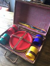 Virtually Unused Picnic Basket With Plastic Crockery
