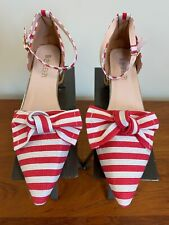 RED WHITE GOLD HEEL POINTY TOE  Striped LADIES SIZE 38