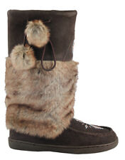 BRAND NEW WOMENS DARK BROWN MUKLUK BOOTS, REAL LEATHER SUEDE - SIZE 6