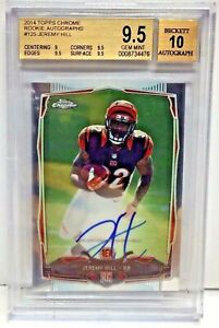 Jeremy Hill 2014 Topps Chrome RC on-card Auto 10 BGS 9.5 Gem Mint - BENGALS