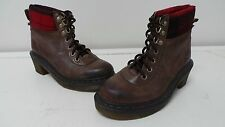 New Womens Dr Marten Frieda Hiker Heeled Leather Boots Size L6 Brown 109N