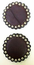 """2 CHOCOLATE BRIDLE LEATHER ROSETTES/CONCHOS-NICKLE SPOTS-2""""- DYED EDGES"""