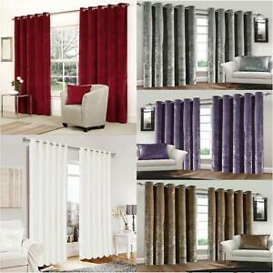 Pair Luxury Velvet Curtains Ready Made Eyelet Ring Top Fully Lined Door Window