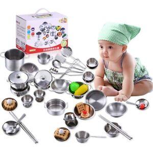 16 Pcs Kids Play Children Toys Kitchen Cooking Utensils Pots Pans Accessories