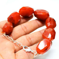 "375.00 Cts Natural 7"" Long Orange Carnelian Faceted Beads Bracelet NK 10E58"