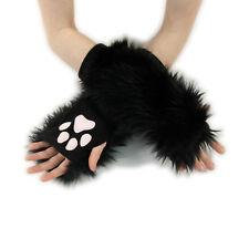 PAWSTAR Paw Arm Warmers - Furry Fingerless Gloves Costume Cat Black [CLABK]3102