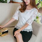 NEW Women Casual Loose Chiffon Lace Rose Long Short Sleeve T-shirt Shirt Top Tee