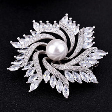 Rotating Flower Brooches Bouquet Pin Jewelry Fashion Men Women Silver Cz Crystal