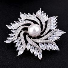 Pearl Sunflower Brooches Pins Jewelry Bridal Wedding Bouquet Rhinestone Crystal