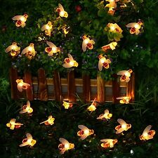 LED Honey Bee Solar String Lights Summer Garden Outdoor Decor Patio Lawn Yard