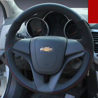 For  Chevrolet Cruze Hand-stitched Interior Steering Wheel Cover Black Leather