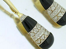 Genuine 9ct Solid Yellow Gold Natural Diamond & Onyx Drop Earrings Love Hearts