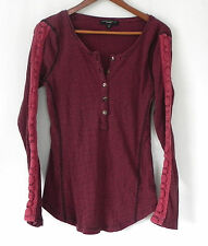Sanctuary Top Thermal Decorative Long Sleeve Slim fit Striped Size M