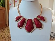 Brand new gold statement necklace with huge red stones and clear crystals