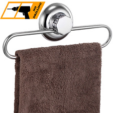 MaxHold No-Drilling/Suction Cup Round Towel Ring - Vaccum System - Stainless - &