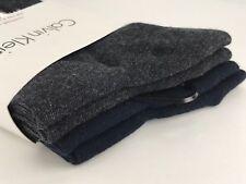 Men's CALVIN KLEIN Brand Gray Blue 62% COTTON Dress Socks - 4 Pack - $36 MSRP